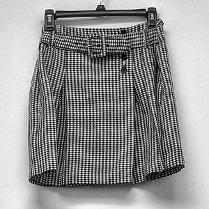 GSL Gingham Ruffle Belted Skirt